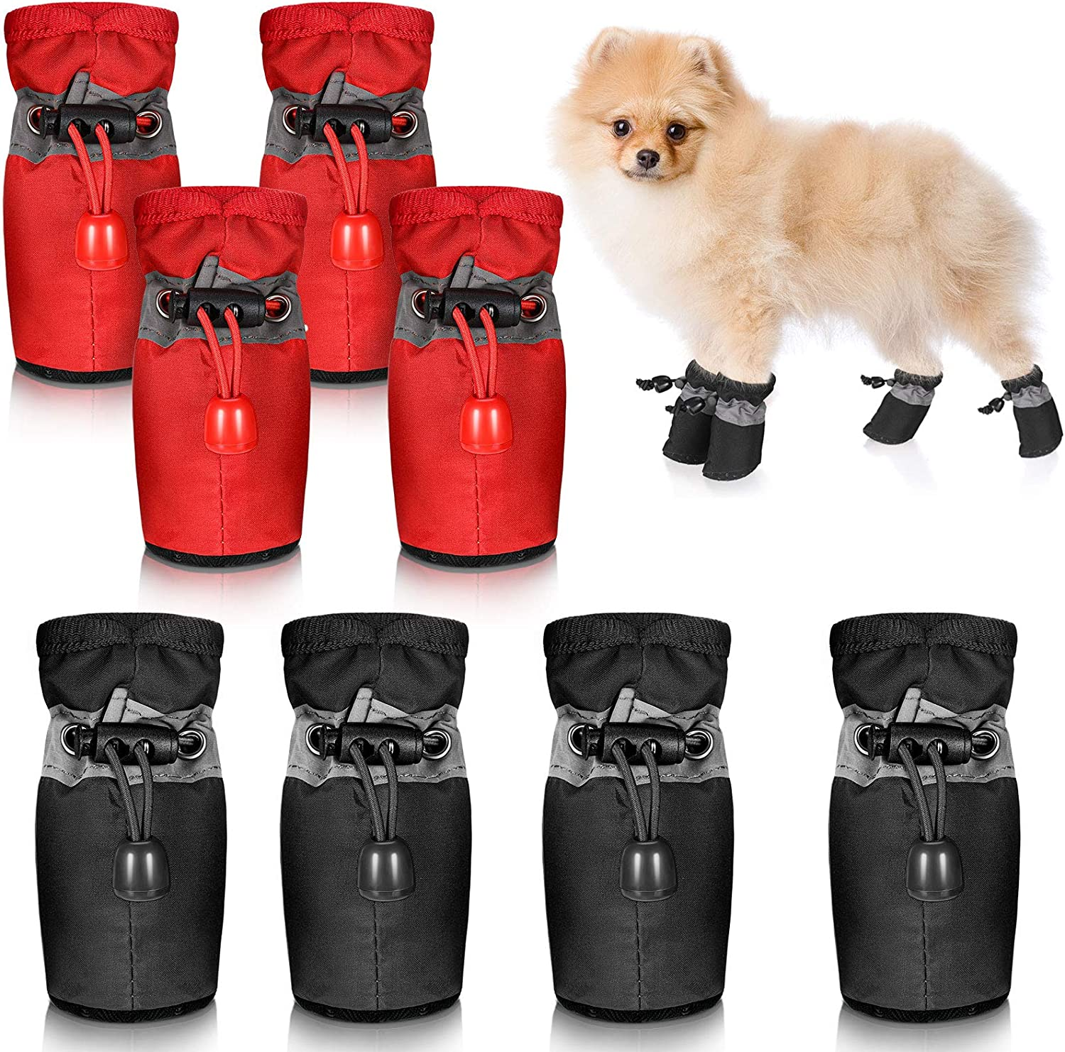 1,Black 4pcs Waterproof Dog Shoes Rain Snow,Soft Soled Booties for Dogs with Adjustable Drawstring for Small Puppy