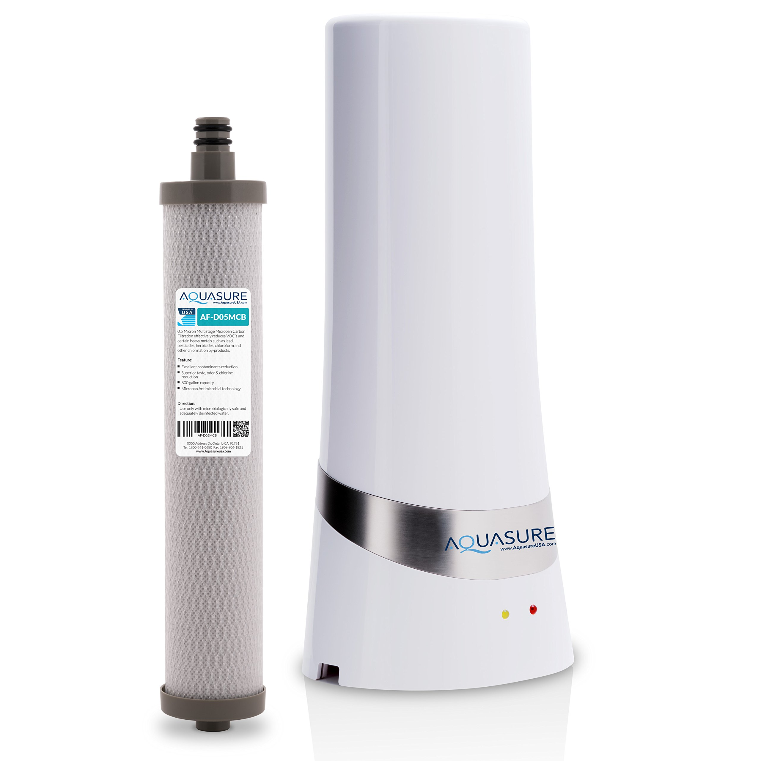Aquasure Dash Series Countertop Drinking Water Filtration System with 0.5 Micron Carbon Block with Microban Technology (White)