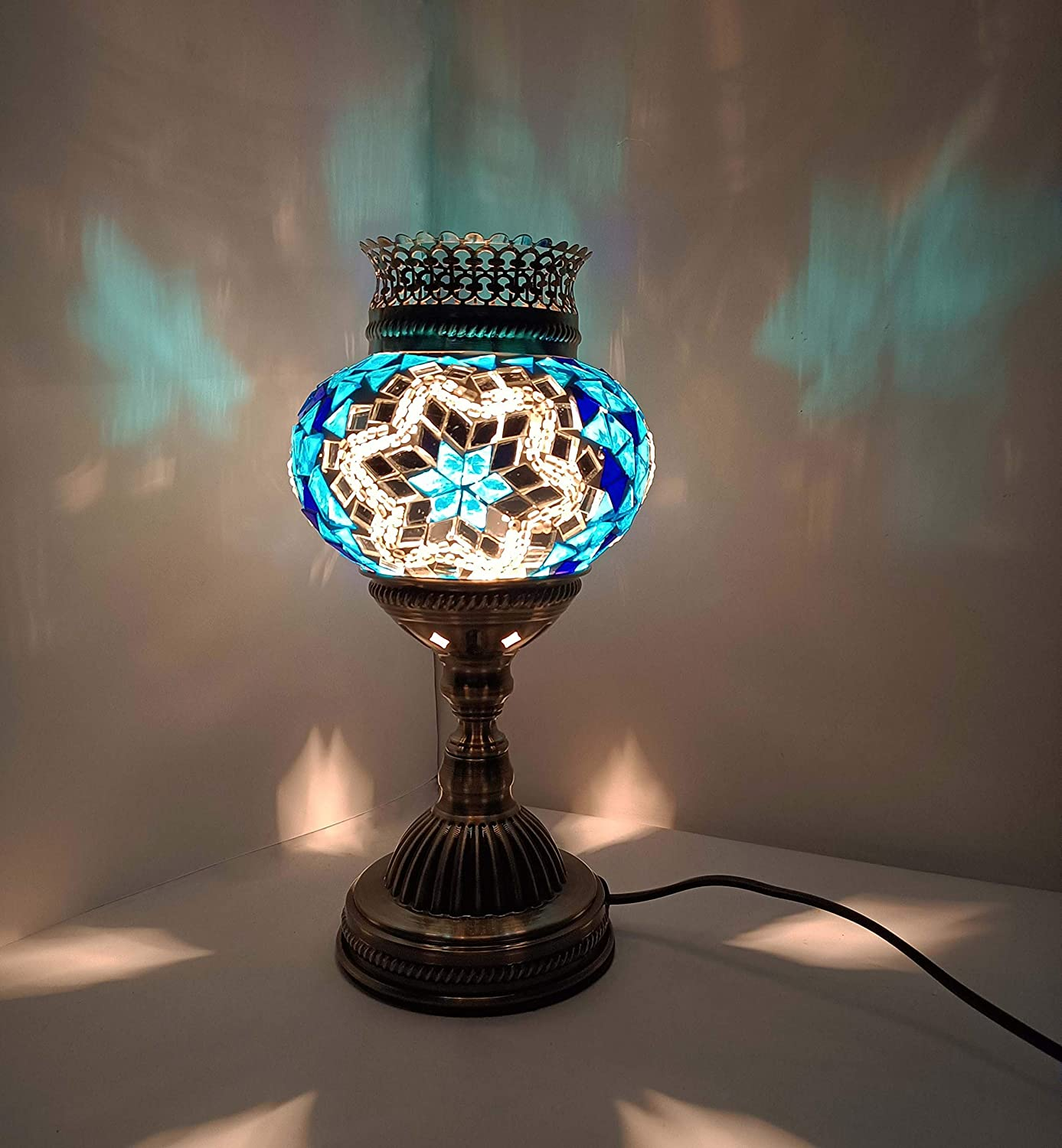 LIGHTIUM Moroccan/Turkish Style Mosaic Fragrance Table lamp   Handmade Vintage Crystal Lamp with Aroma Oil   Bohemian Decor/Stained Glass Mood Light   Bedside/Home Decoration   Blue & White