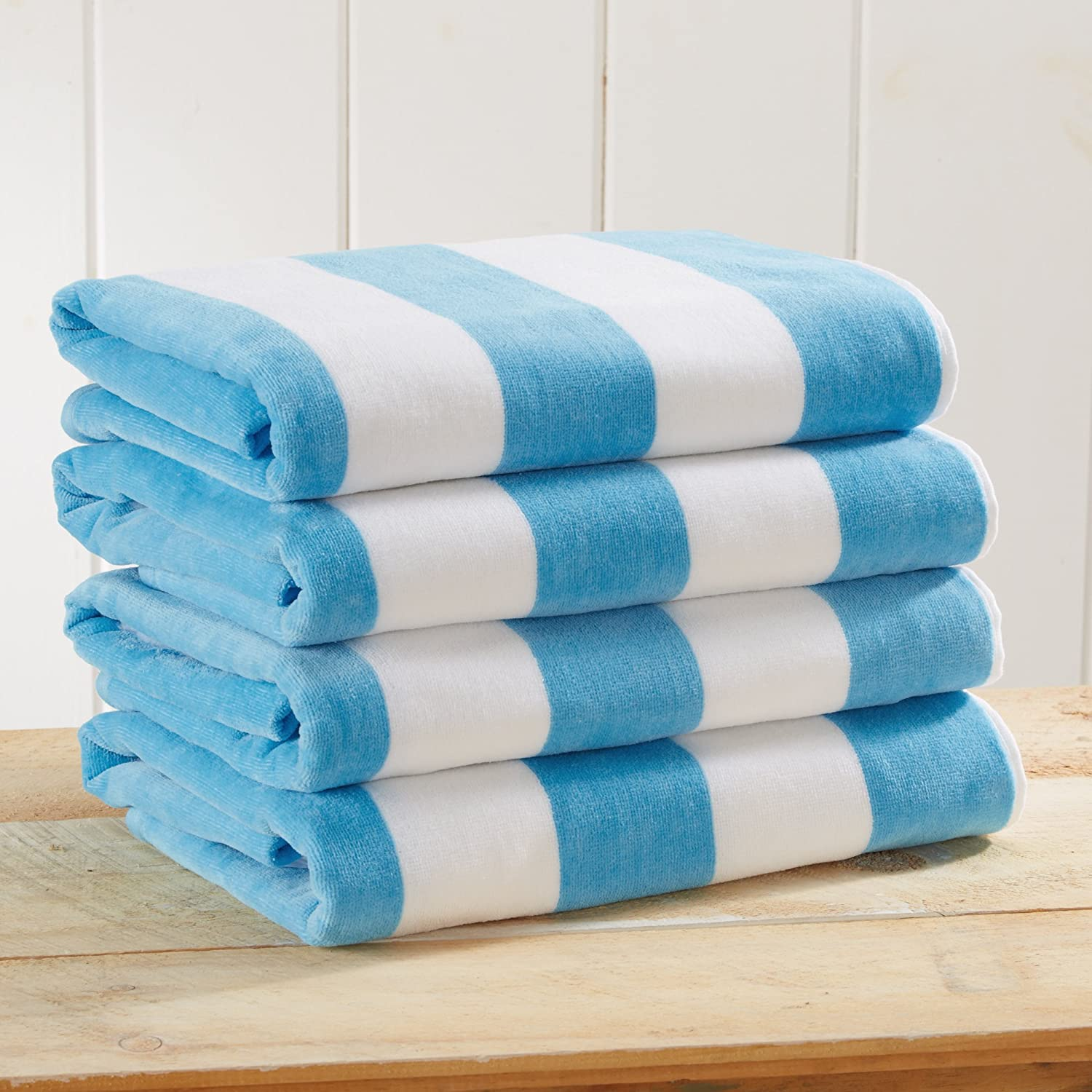 4 Pack Plush Velour 100 Cotton Beach Towels Cabana Stripe Pool Towels For Adults Air Blue 4 Pack 30 X 60 Kitchen Dining