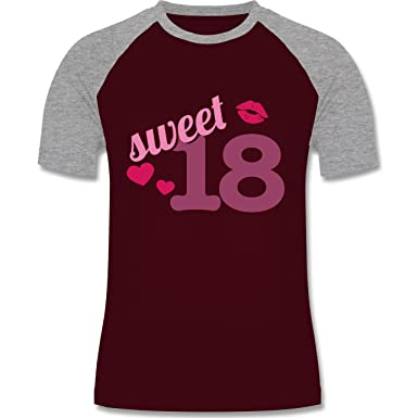 Shirtracer Geburtstag - Sweet 18 - S - Burgundrot/Grau Meliert - L140 -  Herren