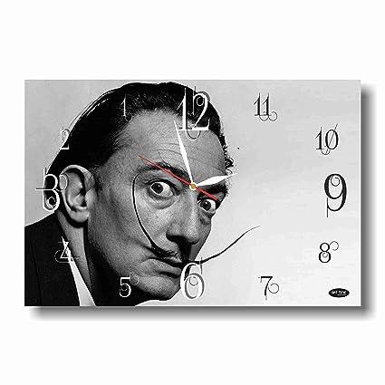 "Salvador Dalí 11 ""x 18"" hecho a mano reloj de pared hacia atrás"