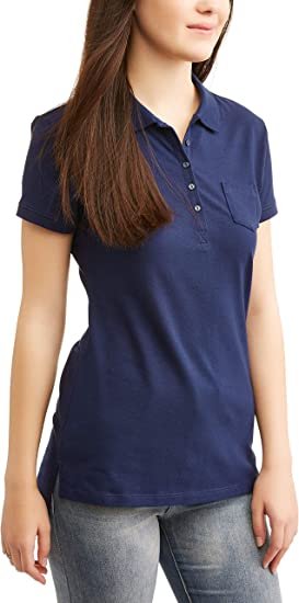 NEW LADY/'S NO BOUNDARIES  PURPLE 5 BUTTON SHORT SLEEVE POLO COTTON  SHIRT