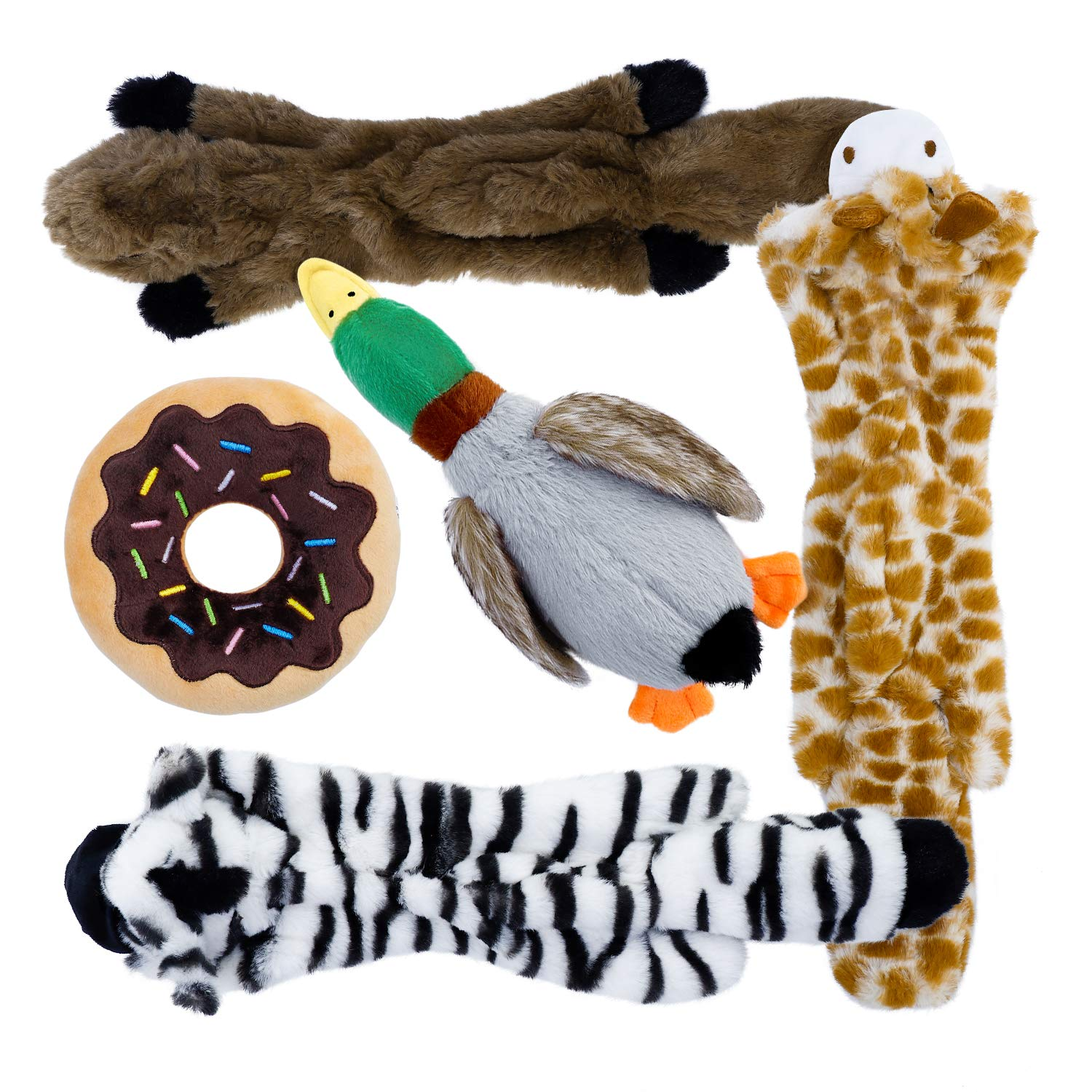 Toozey 5 Pack Dog Squeaky Toys Three no Stuffing Dog Toys and Three Plush Pet Toys with Stuffing - Safe Dog Chew Toys for Small Medium Large by Toozey