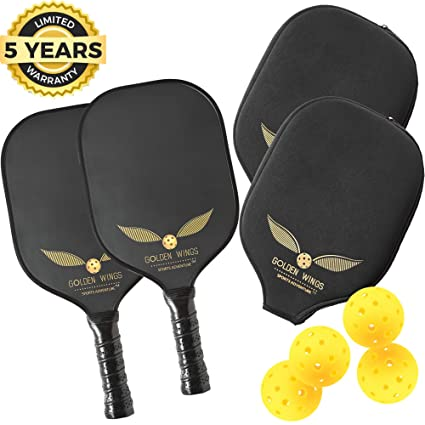 Pickleball Paddle Set Of 2 - Graphite Pickleball Racket + 4 Pickle Balls - Composite Fiberglass Pickleball Paddles Bundle Honeycomb Core Pickle Ball ...