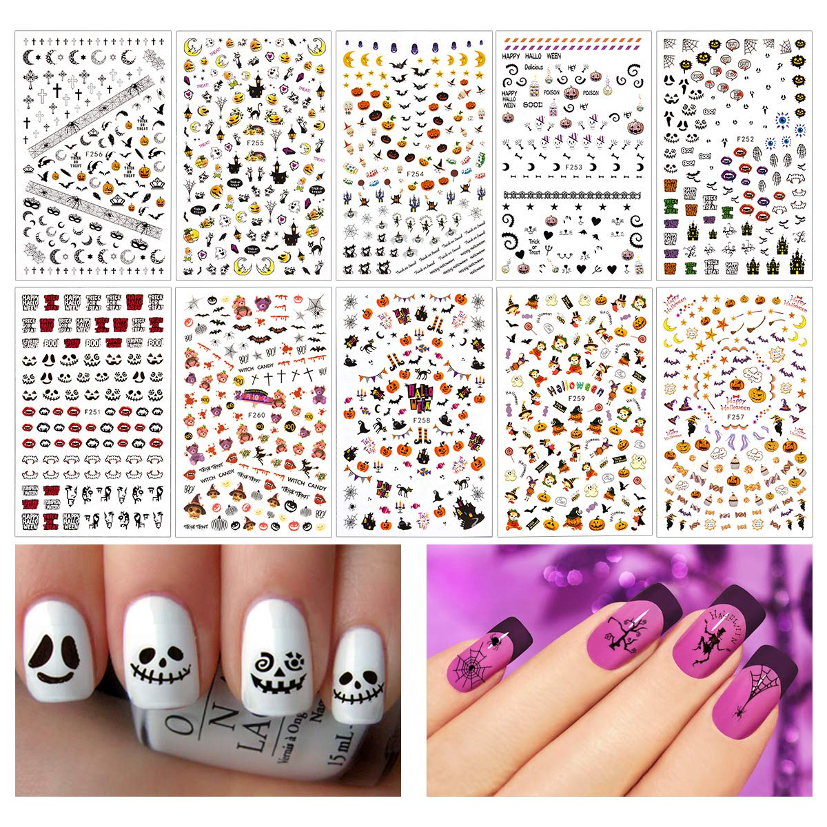 Madholly 1200+ Pieces 3D Design Self Adhesive Halloween Nail Art Stickers Decals Tattoo Manicure Decoration for Fingernails Toenails Nail Tips