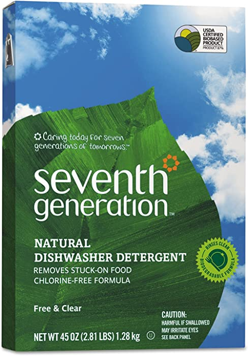 Seventh Generation Natural Automatic Dishwasher Powder, Free & Clear, 45oz Box