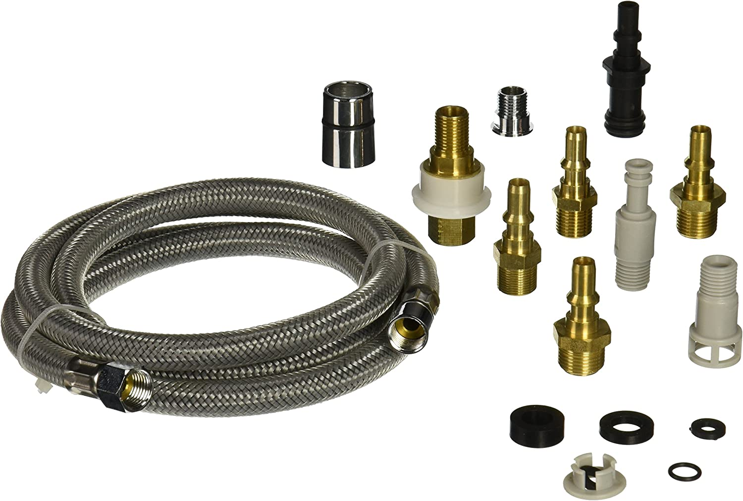 Danco Kitchen Faucet Pull Out Spray Hose Replacement Kit For Pullout Sprayer Heads Quick Connect Adapters 10 Piece Adapter Kit 57 Inch Nylon Hose 10339 Faucet Spray Hoses Amazon Com