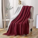 softan Sherpa Throw Blanket Super Soft Non Shedding Reversible Ultra Luxurious Plush Fleece Blanket (50 X 60 inches, Wine Red)