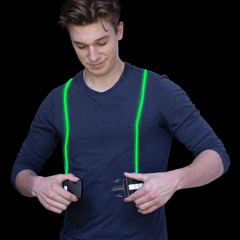 Battery Powered Adjustable Gear for Runners Running Light Vest LED Running Vest-IllumiVest-Flexible Fiber Optic Cable Led Vest with Reflective Belt-lighted Running Vests Running Vest with Lights
