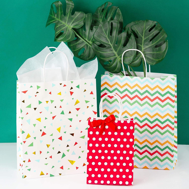Loveinside Sacs-Cadeaux avec Papier De Soie 4Pcs G/éom/étriques Color/és avec Un Motif en Feuille dor pour Les Achats Les F/êtes Le Mariage LArtisanat -26 X 11 X 32Cm Le Shower De B/éb/é