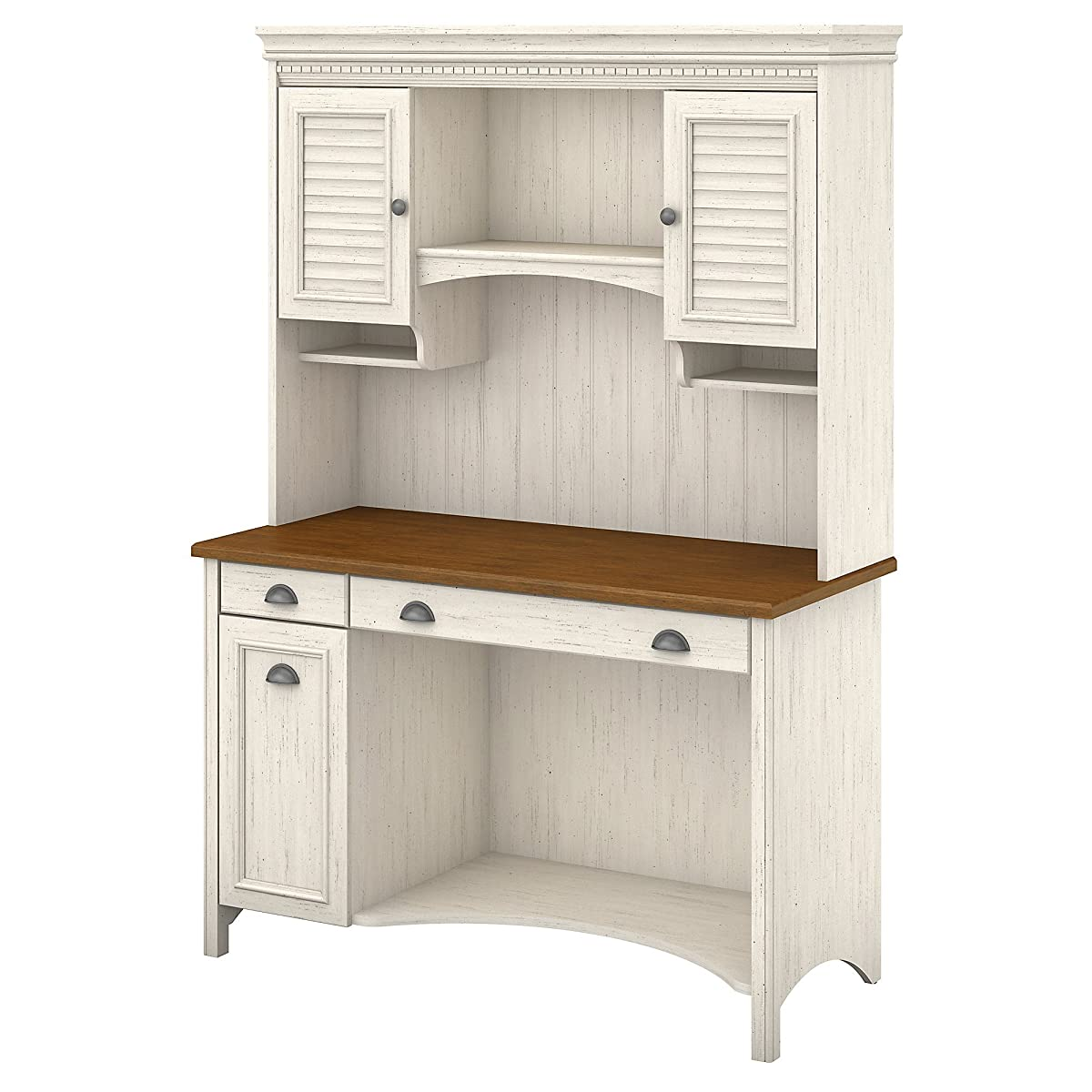 Bush Furniture Stanford Computer Desk with Hutch and Drawers in Antique White