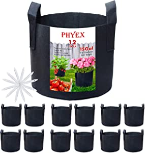 PHYEX 12-Pack 15 Gallon Nonwoven Grow Bags, Aeration Fabric Pots with Durable Handles, Come with 12 Pcs Plant Labels