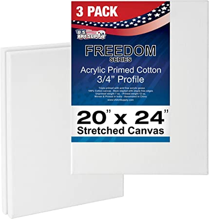 """3 Pack of US Art Supply 24/"""" x 36/"""" Acrylic Primed Cotton Stretched Canvas"""