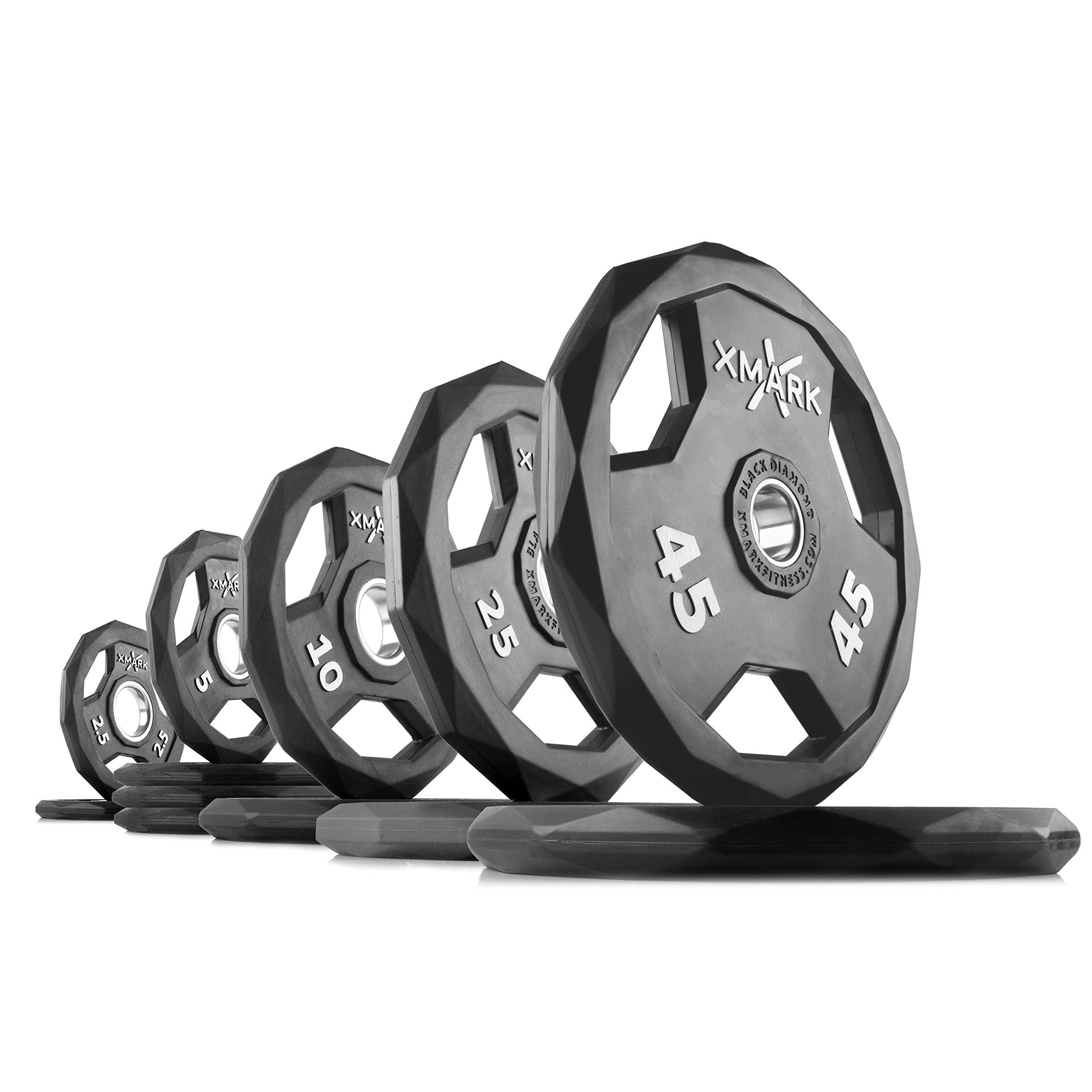 XMark Black Diamond 185 lb Set (Option 1) Olympic Weight Plates, One-Year Warranty, Patented Design
