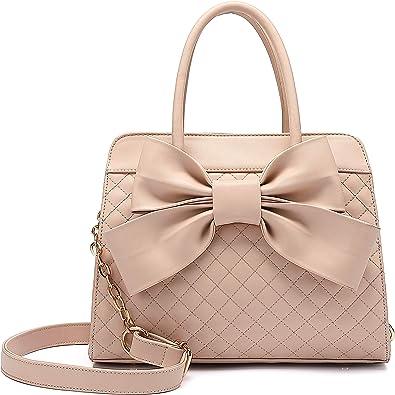 Big Handbag Shop Womens Quilted Top Bow Messenger Cross Body Bag