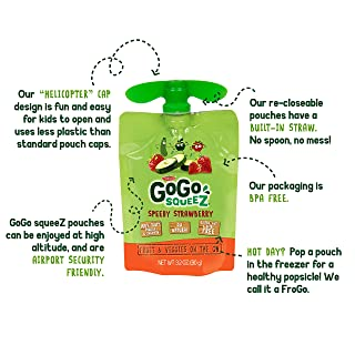 GoGo Squeez Fruit & VeggieZ on the Go, Apple Zucchini Strawberry, 3.2 Ounce (4 Pouches), Gluten Free, Vegan Friendly, Unsweetened, Recloseable, BPA Free Pouches (Packaging May Vary)