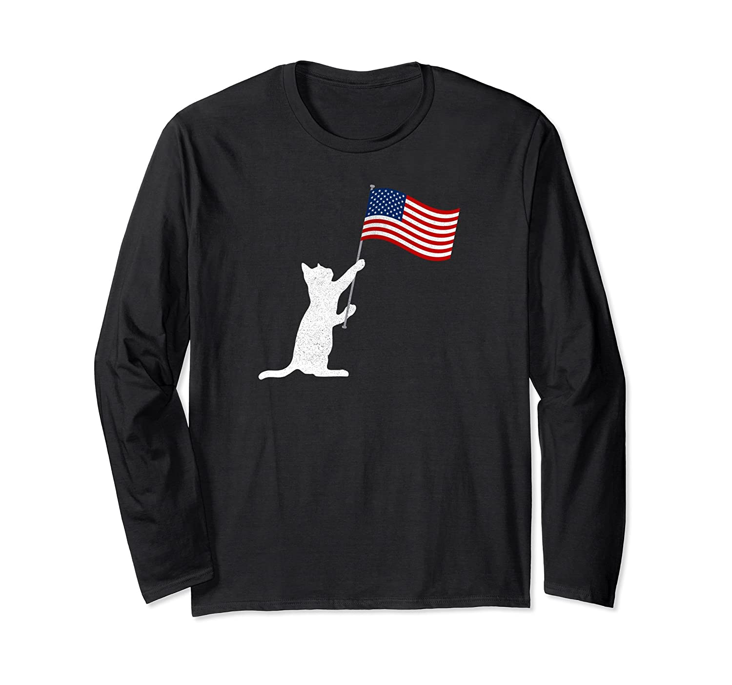 10f3d1c8f Cute Cat Lover USA Flag Independence Day Long Sleeve T-Shirt-anz ...