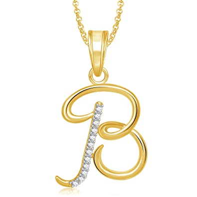 buy meenaz gold plated b letter pendant locket alphabet heart with