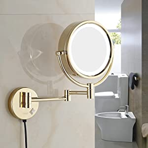 GURUN 8.5 Inch LED Lighted Wall Mount Makeup Mirror with 10x Magnification,Gold Finish