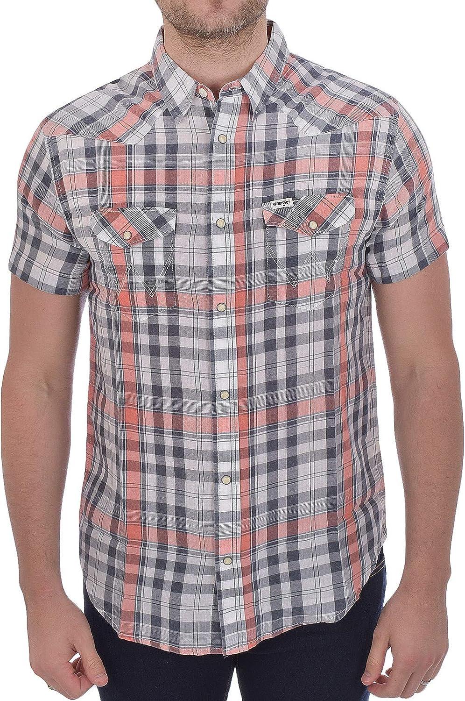 Wrangler Western - Camisa de manga corta con botones de algodón, talla XL: Amazon.es: Deportes y aire libre
