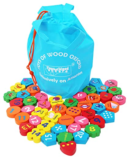 Towo Wooden Threading Beads Alphabet Blocks Large Wooden Letters And Number Blocks 46 Pieces Threading Toy Wooden Educational Toys For 3 Years Old