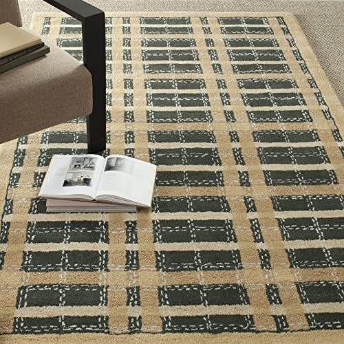 Martha Stewart Safavieh Collection MSR3613A Premium Wool and Viscose Color Weave Plaid Cornucopia Gold Area Rug 5 x 8
