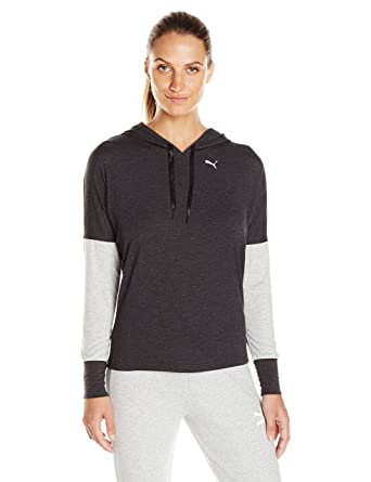 PUMA Women's Open Back Hoody, Dark Gray Heather/Light Gray Heather, X-