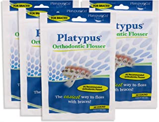 product image for Platypus Orthodontic Flossers for Braces – Unique Structure Fits Under Arch Wire, Floss Entire Mouth in Less Than Two Minutes, Increases Flossing Compliance Over 84% - 30 Count Bag (Pack of 4)