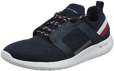Herren Technical Material Mix Sneaker, Blau (Midnight 403), 44 EU Tommy Hilfiger