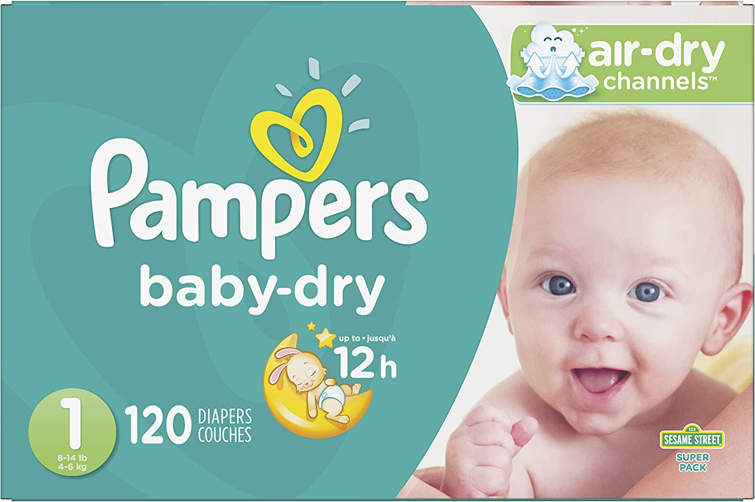 Diapers Newborn/Size 1 (8-14 lb), 120 Count - Pampers Baby Dry Disposable Baby Diapers, Super Pack: Health & Personal Care