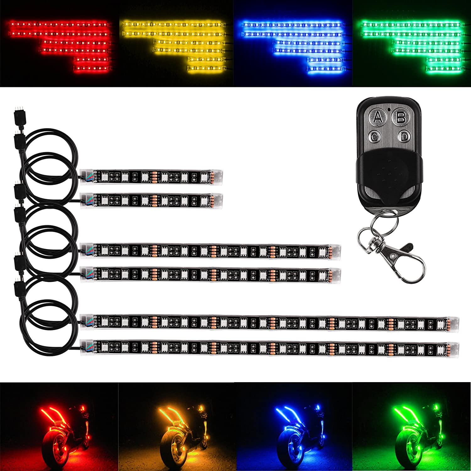 DEBEME 6PCS RGB Vioce Control LED Car Motorcycle Glow Lights 5050SMD Flexible Neon Strips Kit Chopper Frame