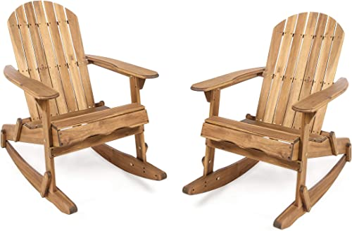 Christopher Knight Home Malibu Outdoor Acacia Wood Adirondack Rocking Chairs, 2-Pcs Set, Natural Stained
