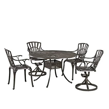 Pleasant Home Styles 5561 3258 Largo 5 Piece Outdoor Dining Set With 48 Table Two Swivel Chairs And Two Arm Chairs Evergreenethics Interior Chair Design Evergreenethicsorg