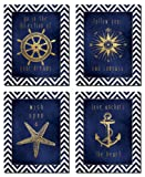 Amazon Price History for:Beautiful Gold and Blue Chevron Inspirational Nautical Prints; Four 8x10in Poster Prints