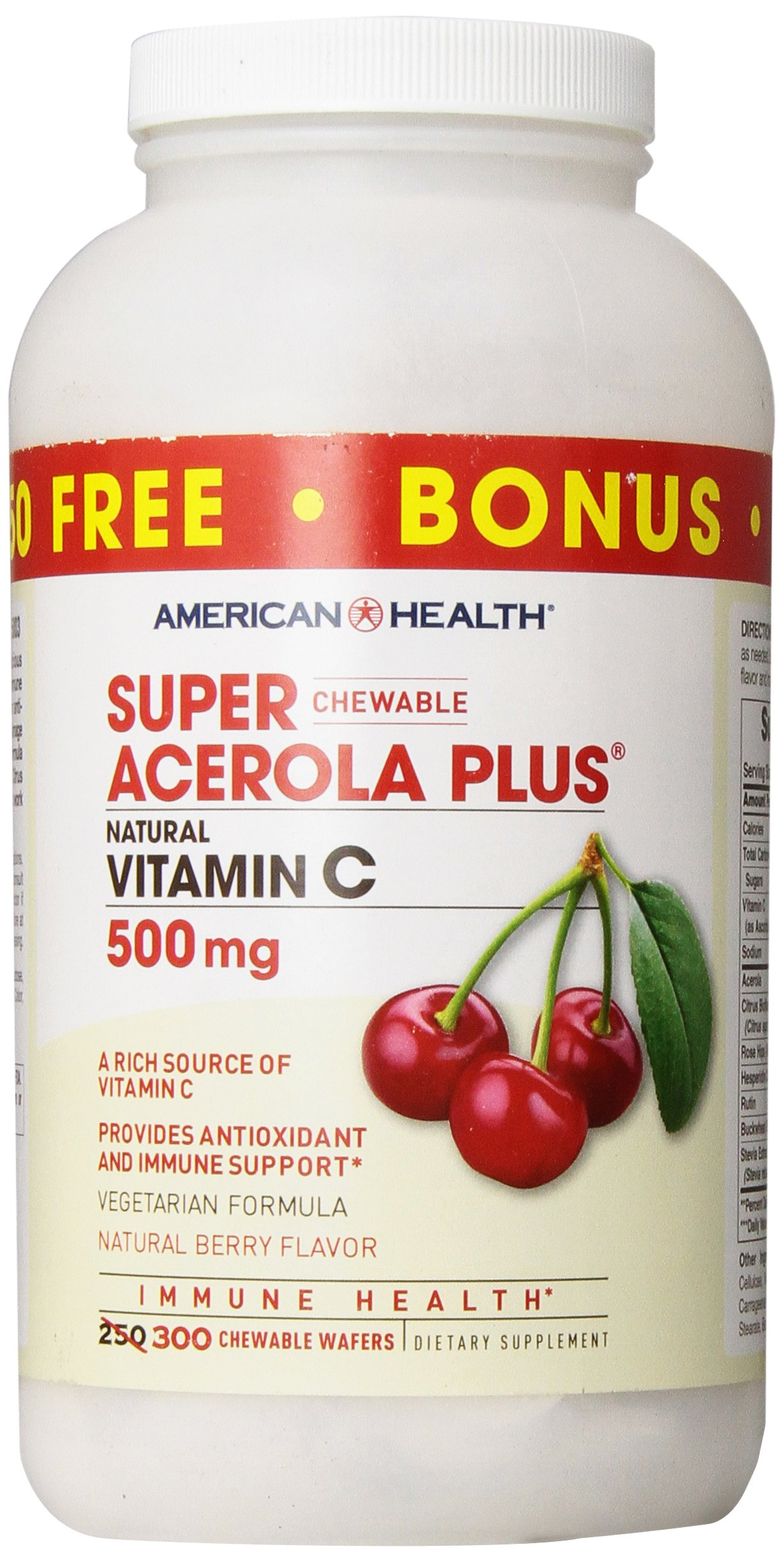 American Health Super Acerola Plus Chewable Wafers, Natural Berry Flavored Vitamin C - Provides Antioxidant & Immune Support - 500 mg, 300 Total Servings