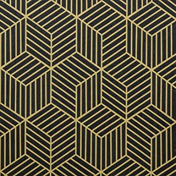 Amazon Com 17 7 X118 Black And Gold Wallpaper Geometric Hexagon Stripe Peel And Stick Wallpaper Removable Contact Paper Self Adhesive Wallpaper Easy To Clean For Wallcovering Shelf Drawer Liner Countertop Home Improvement
