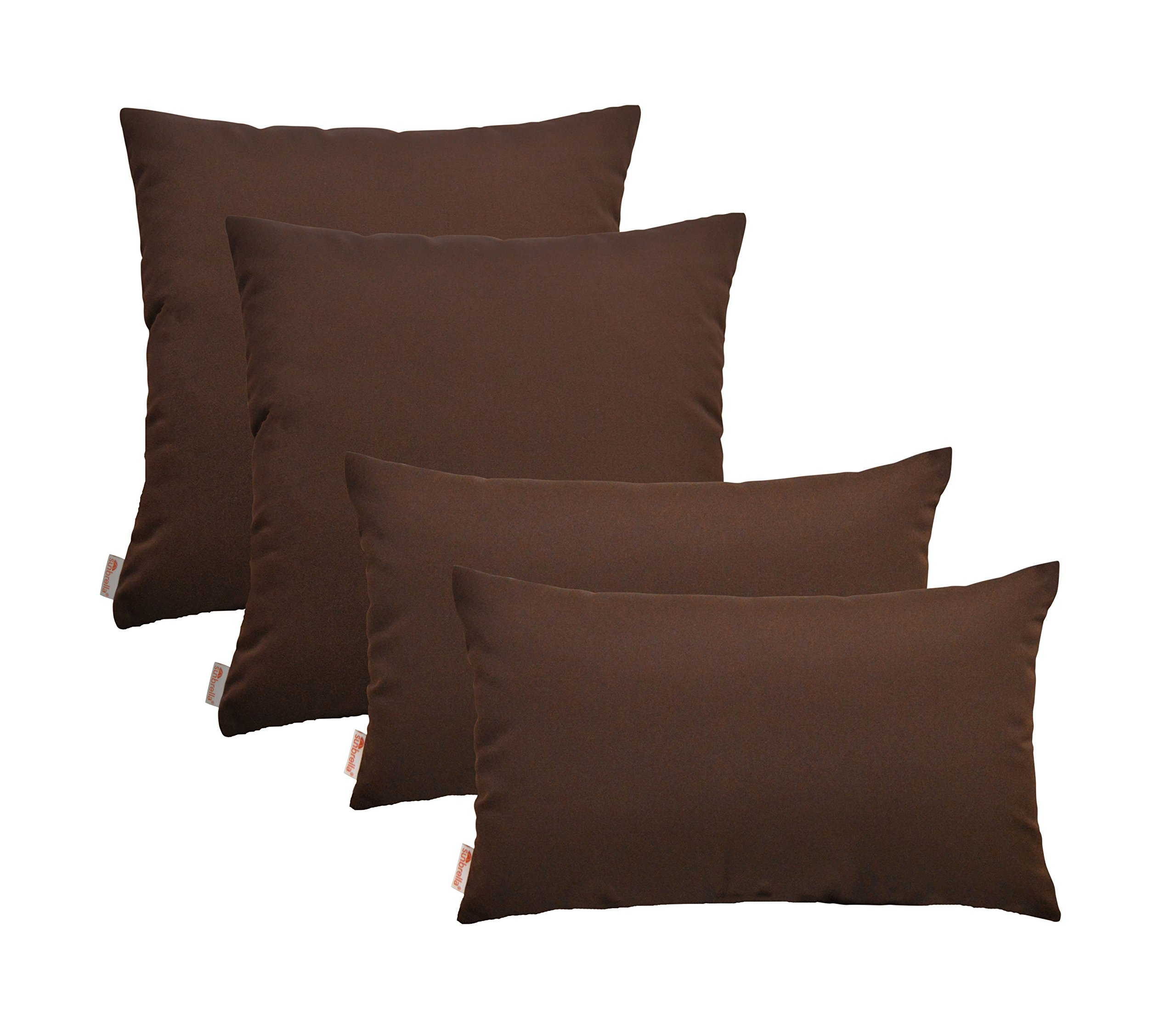 RSH Décor Set of 4 Indoor Outdoor Pillow- 17'' x 17'' + 12'' x 20'' Pillows- Sunbrella Bay Brown'