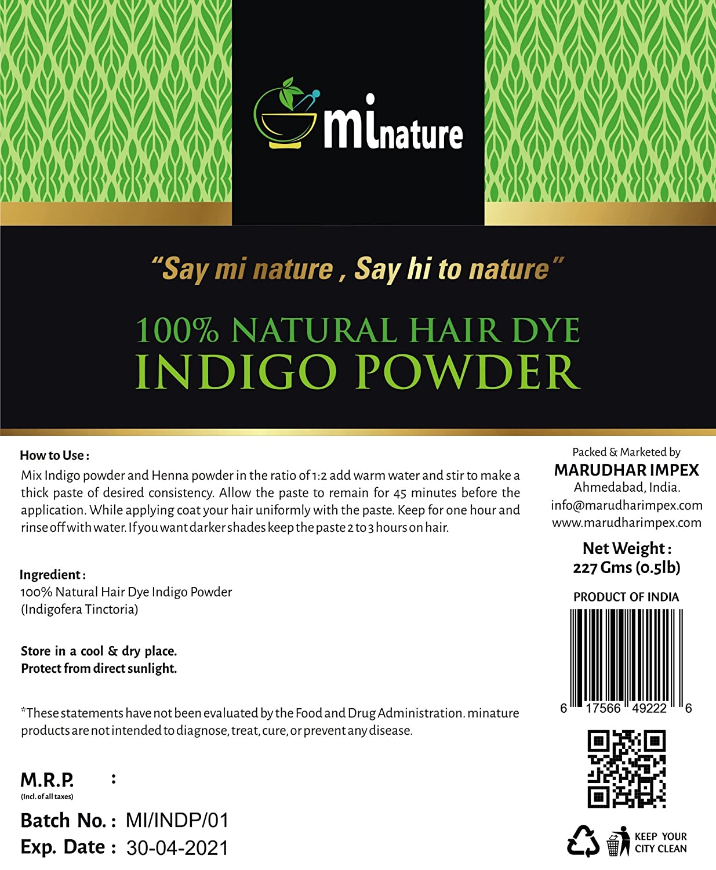Amazon Mi Nature Indigo Powder Indigofera Tinctoria 100
