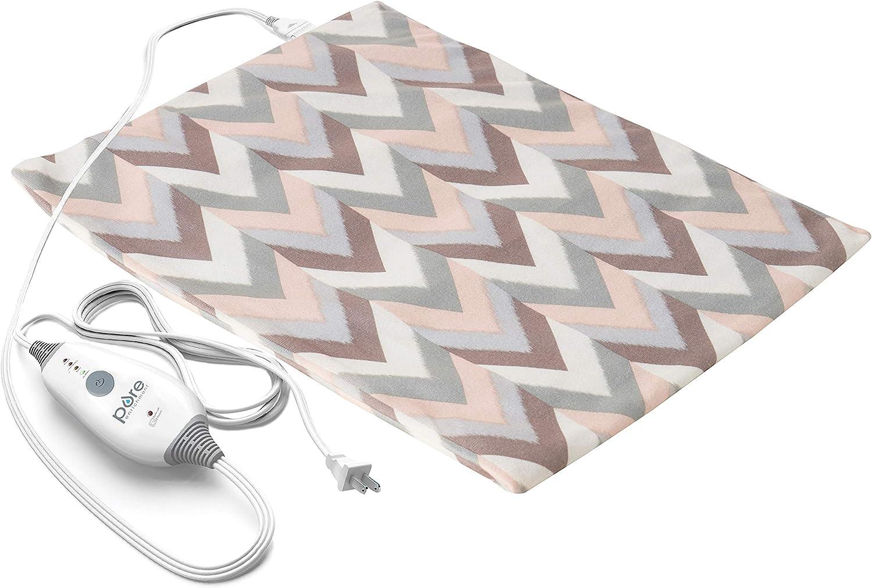 "Pure Enrichment® PureRelief™ Express Designer Series Electric Heating Pad (12"" x 15""), 4 Heat Settings, Ultra-Slim, Non-Vinyl Design, Removal Machine-Washable Cover, Auto Shut-Off (Desert Herringbone)"