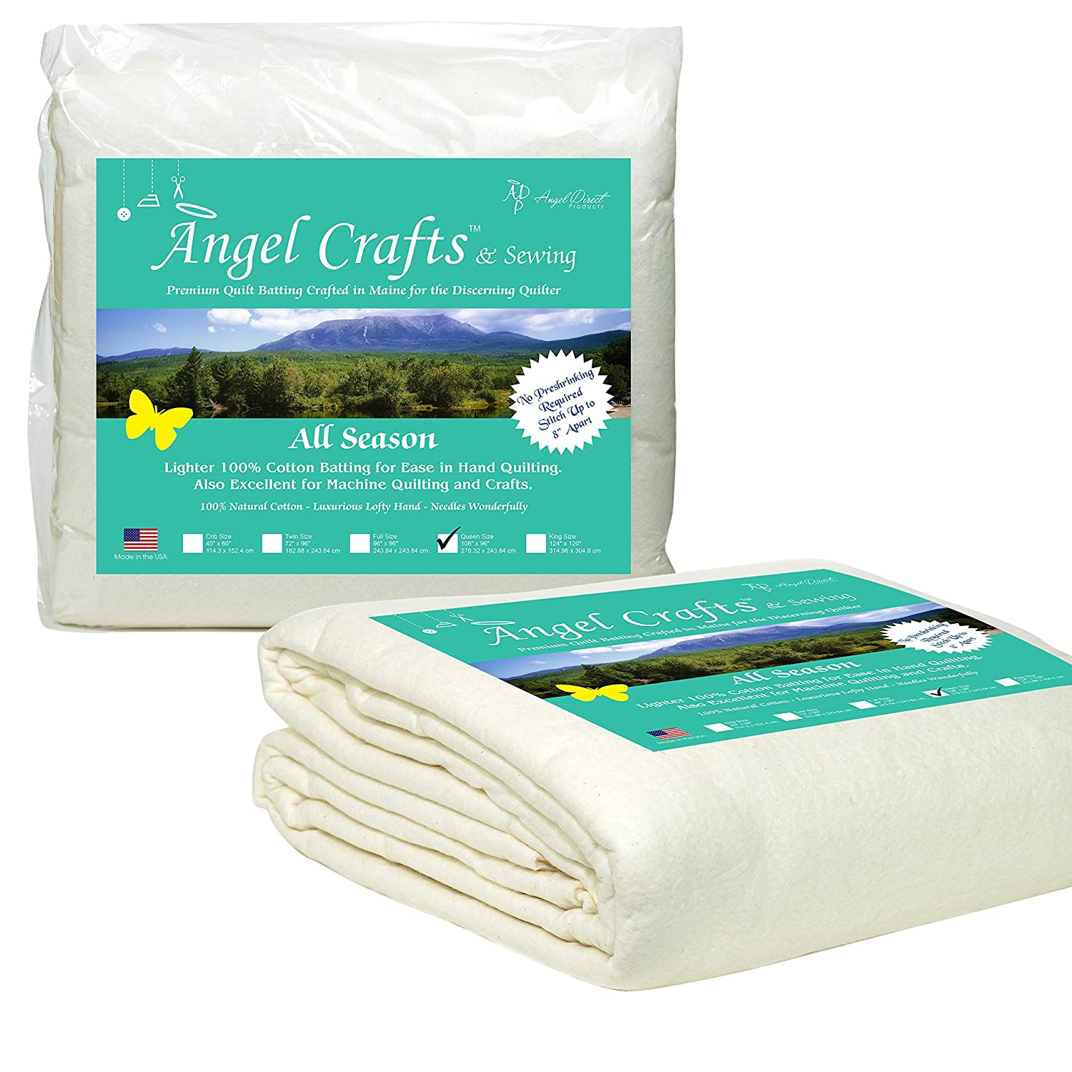 Angel Crafts and Sewing Cotton Batting for Quilts: Purely Natural All Season Quilt Batting by the Roll