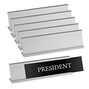 "Set of 6 – Sturdy and Elegant Silver Aluminum Desk Name Plate Holder, Office Business Desk Sign Holder, 8"" X 2"" - Hardware and Inserts are Not Included"
