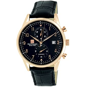 Steinhausen Men S S0919 Lugano Chronograph Stainless Steel And Black Leather Dress Watch