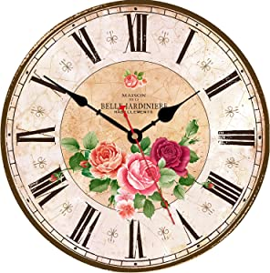 WISKALON 8 Inch Retro Rose Wall Clock,Round Vintage Wood Wall Clock,Silent Non-Ticking Battery Operated Wall Clock,Roman Numerals Wall Clock,Decorative Hanging Wall Clock