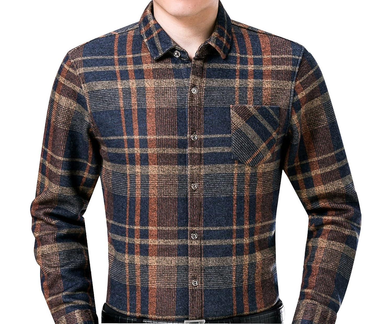 Men's Plus Velvet Thicken Printing Lapel Lattice Warm Shirt