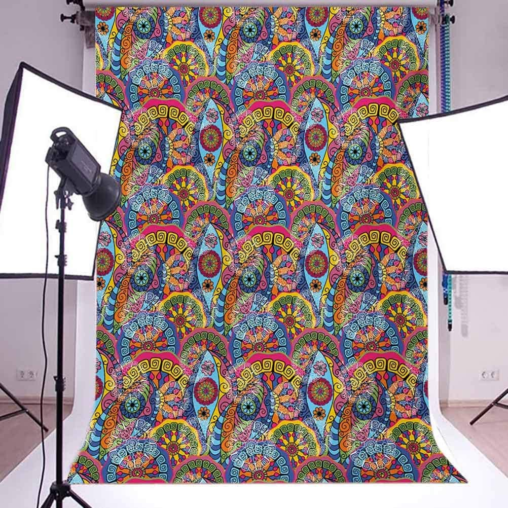 10x12 FT Backdrop Photographers,Hippie Style Abstract Blooms with Aztec Tribal Geometric Trippy Boho Antique Figures Background for Photography Kids Adult Photo Booth Video Shoot Vinyl Studio Props