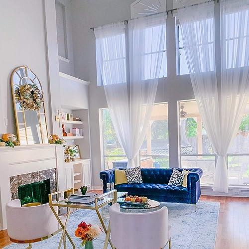 Ikiriska Extra Long Sheer Voile Curtains 2 Panels for high Ceiling, Custom Made Length 12, 14, 15, 16, 17, 18, 20 24 feet Long, Wide Drapes for 2 Story Living Room White