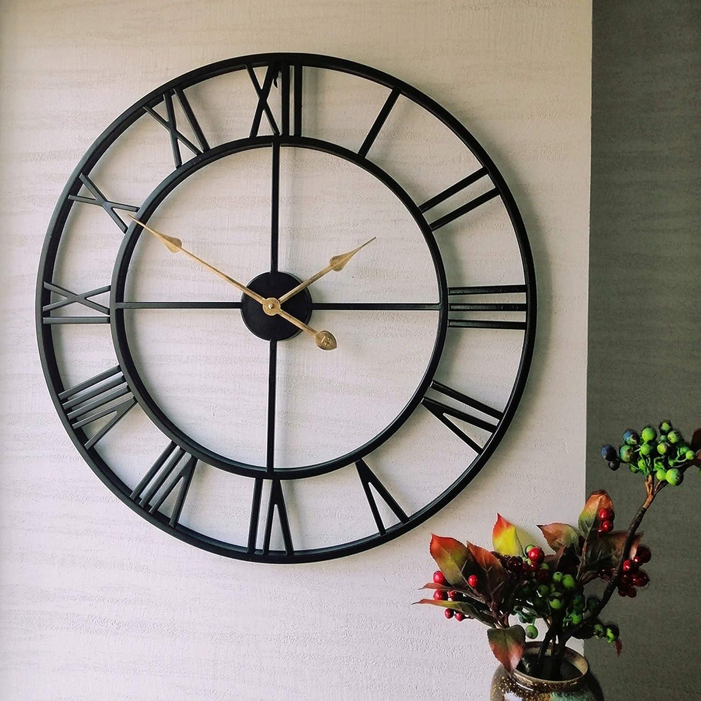 Evursua 24 inch Large Home Decor Wall Clock for Living Room Non Ticking Iron Art Clocks Roman Numeral,Retro Distressed Metal,Oversized (Black, 24 Inch-Thicker Frame)