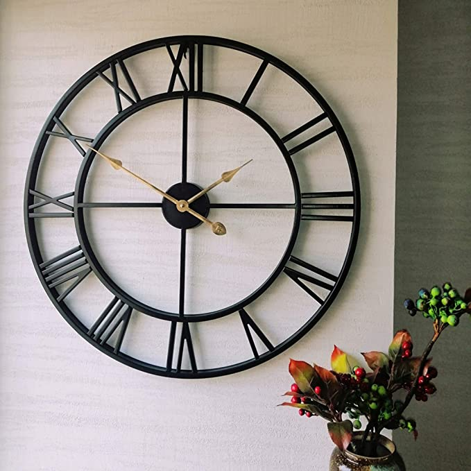 Evursua 24 Inch Thicken Heavy Large Metal Wall Clocks For Living Room Decor Large Decorative Clock Oversized Big Roman Numeral Non Ticking Black Kitchen Dining