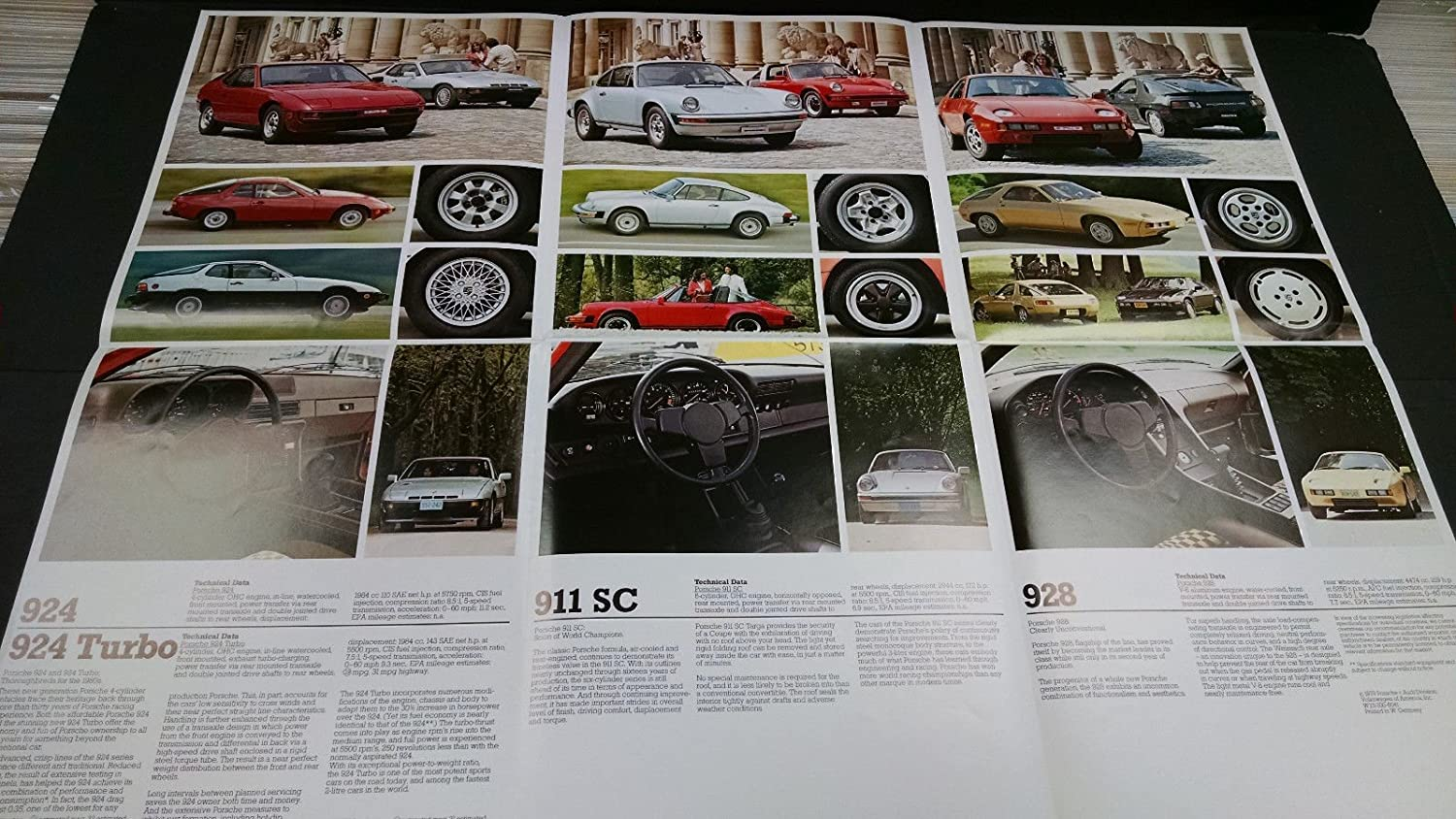 1979 Porsche 911 SC 928 924 Turbo sales brochure fold out poster MBX8 at Amazons Entertainment Collectibles Store